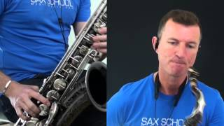 Yakety Sax  sample of the saxophone lesson showing how to play on alto or tenor sax