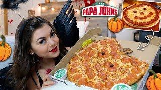 Papa Johns Pumpkin Pizza Mukbang!! :)
