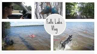 #ParkerVlogs || Puppy Swims! Labor Day Weekend in Falls Lake || Thumbnail