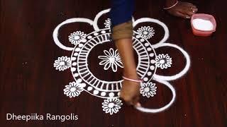 creative freehand muggulu without dots * simple & easy kolam * Apartment rangoli designs