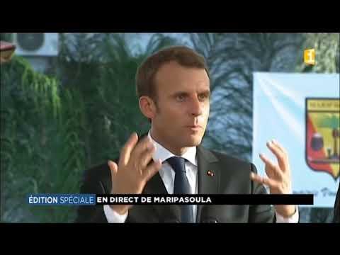 French President Emmanuel Macron in French Guiana
