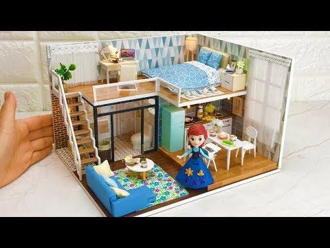 4 DIY Frozen Anna Dollhouse(Bedroom,Kitchen,Living room,Bath room)