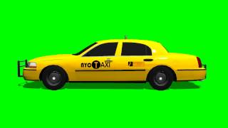 New York Taxi drive Animation green screen