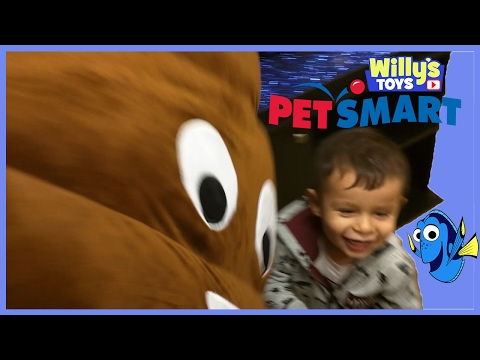 kid-checks-out-out-the-fish-turtles-frogs-and-cat-at-pet-smart-giant-poop-emoji---willys-toys