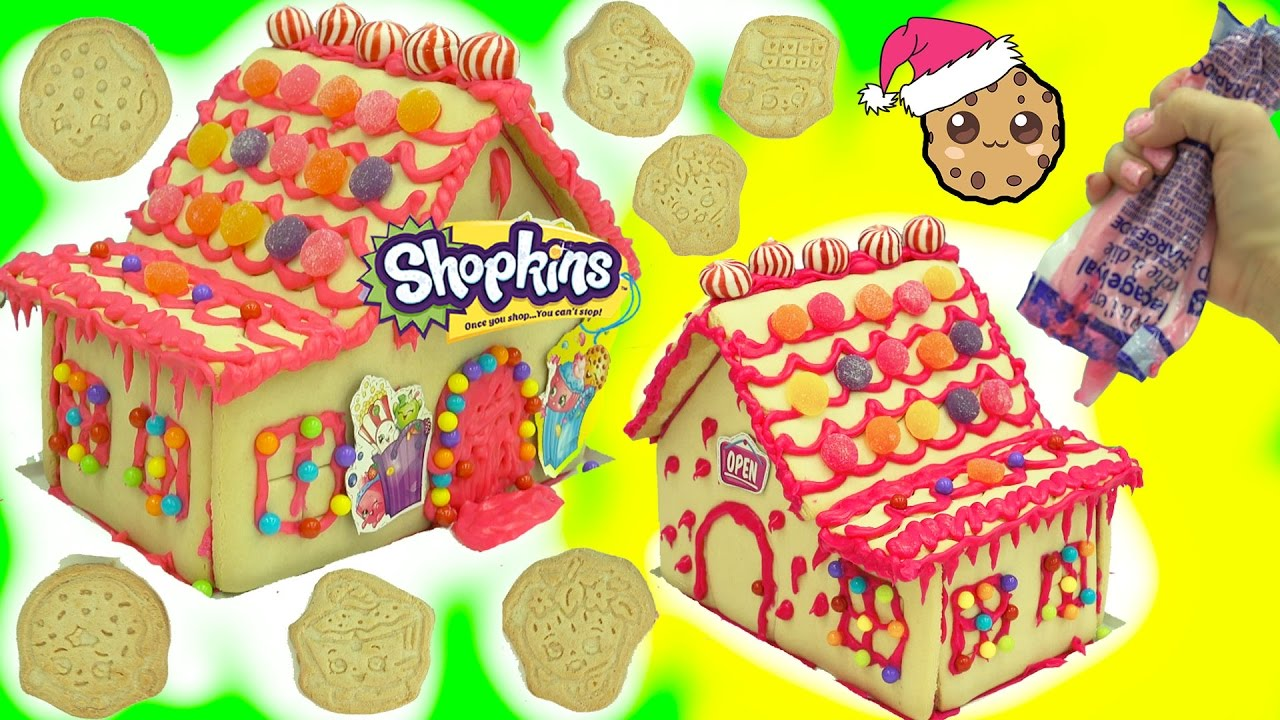 diy shopkins rainbow candy christmas cookie house kit cookieswirlc video youtube