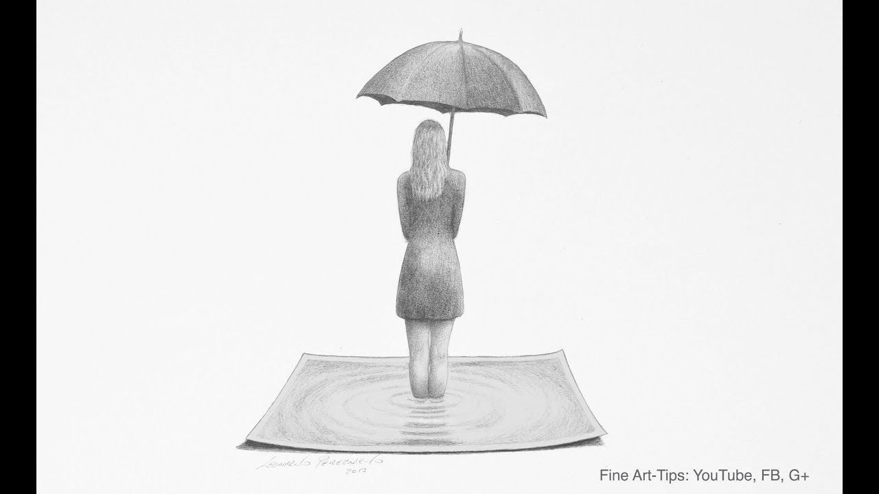 How To Draw A Simple 3d Effect Woman With Umbrella Youtube