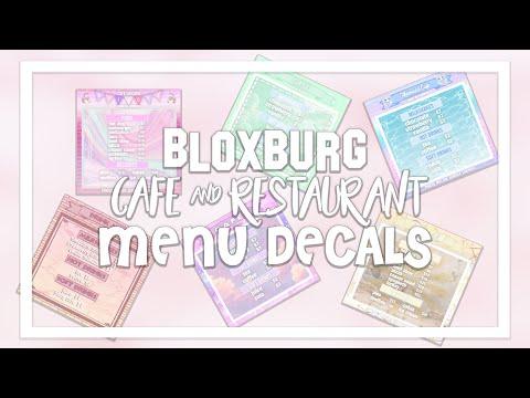 Bloxburg Menu Decals Decal Id Codes Cafe Restaurants Part 1