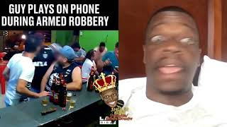 Shuler King - This Guy Is So Into His Phone He Doesn't Realize The Place Is Being Robbed!!!