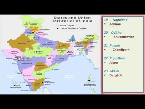 Latest India Map.29 States Of India And Their Capitals Latest General Knowledge India
