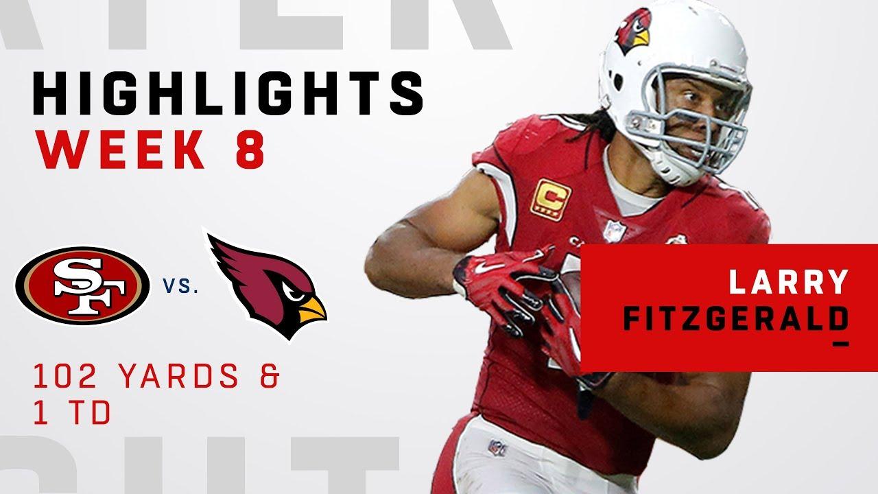 sports shoes 9b1e1 3703d Larry Fitzgerald Highlights vs. 49ers