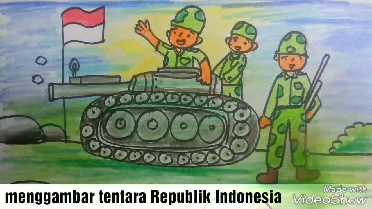 Cara Menggambar Dan Mewarnai Tentara Republik Indonesia Merayakan