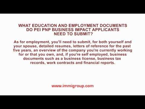 What education and employment documents do PEI PNP Business Impact applicants need to submit?