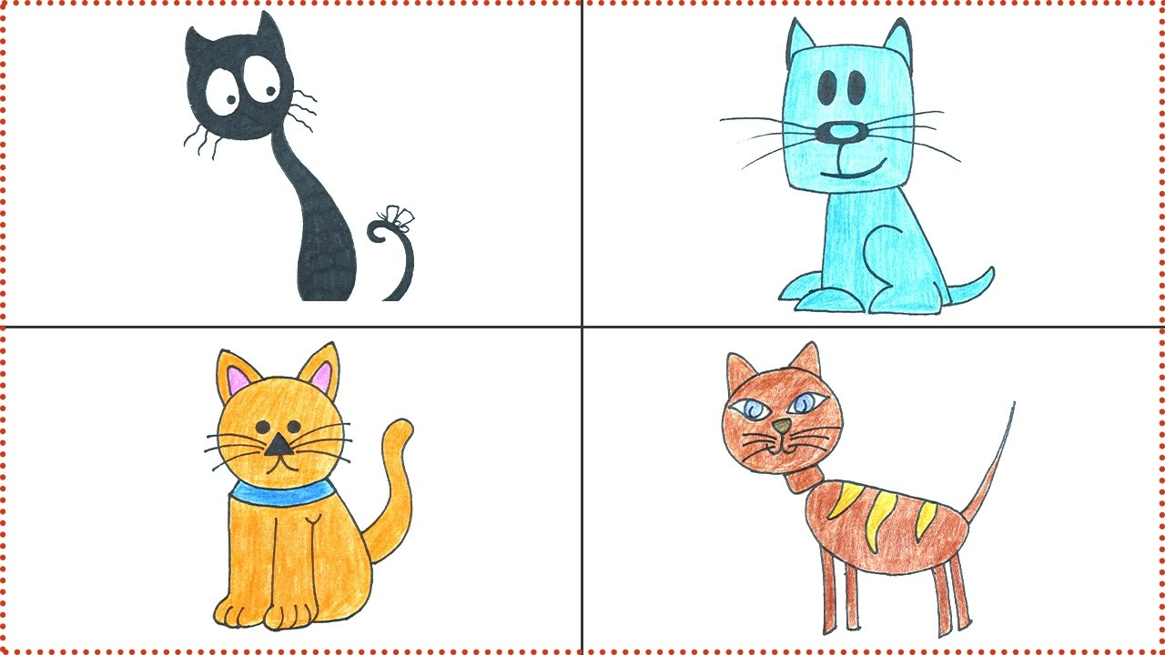 Cat Drawing for Kids and Beginners How to Draw a Cartoon Cat