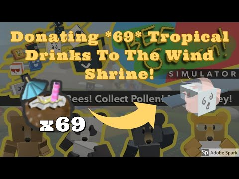 donating-*69*-tropical-drinks-to-the-wind-shrine!-(roblox---bee-swarm-simulator)