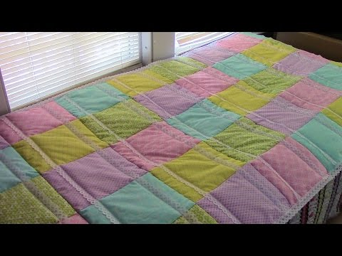 How to Quilt As You Go by Row (QAYG) - Rag Quilt with Lace Binding - Quilting Tutorial