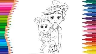 Dibujar y Colorea Un Jefe en Pañales   Dibujos Para Niños   Aprender Colores