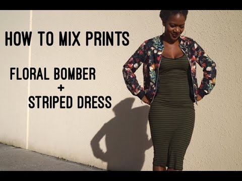 How To Mix Prints | Floral Bomber + Striped Dress