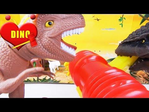 Historinha do Grande Dinossauro Feroz e o Dino Colorado | Historinha com Brinquedo