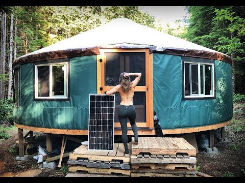 Off Grid Solar Panels And Batteries For My Secret Yurt In The Forest | Showering Off Grid