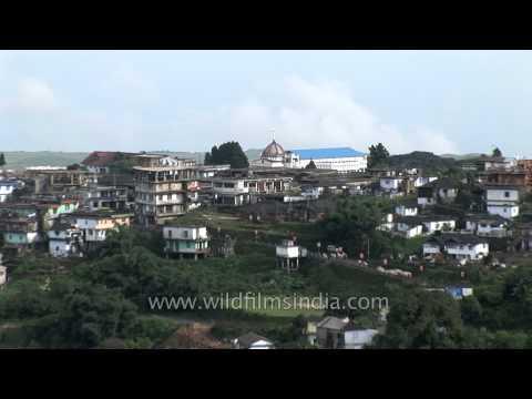 View of Cherrapunji town perched high on top of a ridge, Meghalaya