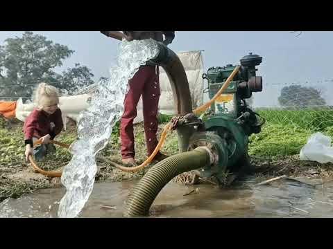 Deisel engine Water pump set ingenious   पानी वाला ईंजन से पानी निकालना