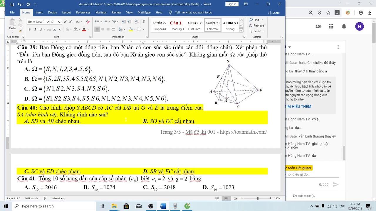 Ôn thi học kì I toán 11