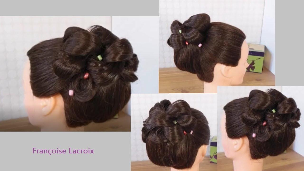 Coiffure De Mariage Bouclee Chignon Haut Curled Bridal Updo Hairstyle Peinado Recogido Alto Boda Youtube