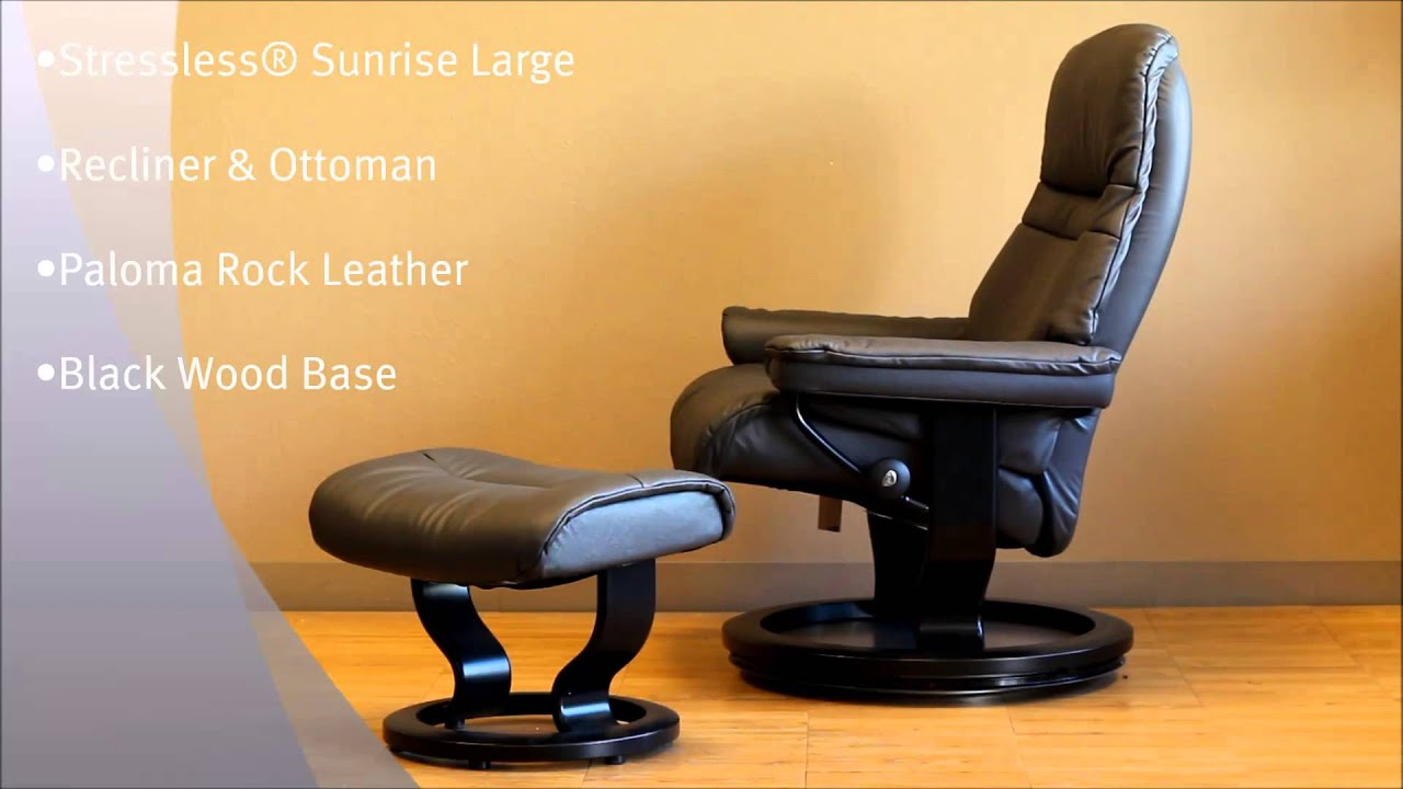 Stressless Sunrise Large Recliner and Ottoman in Paloma Rock Leather and Black Wood Base by Ekornes - YouTube & Stressless Sunrise Large Recliner and Ottoman in Paloma Rock ... islam-shia.org