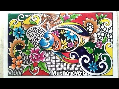 Menggambar Ragam Hias Flora Dan Fauna Batik Kontemporer Doodling Youtube