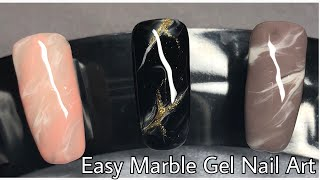 EASY MARBLE GEL NAIL ART | Rose Quartz | Mineral Stone | no sharpies!