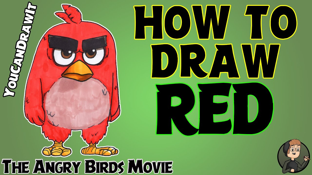Drawing Angry Birds Movie: How To Draw Red From Angry Birds The Movie YouCanDrawIt ツ