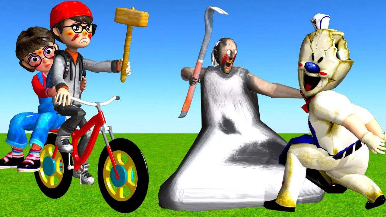 Scary Teacher 3D Nick Take Care Tani and Rescue Granny - Ice Scream 4 Machine with Zombie Car Racing