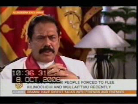 H.E. The President Mahinda Rajapaksa's interview with Al-Jazeera on 8th October 2008