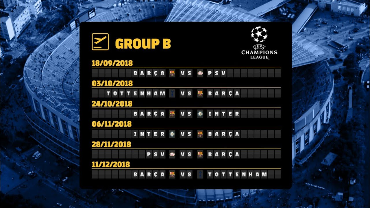 Barcas Fixtures In The 2018 19 Champions League Group Stage