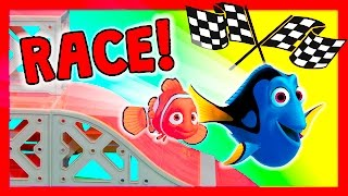 FINDING DORY Disney Pixar Nemo + Bailey  Dory Racers TheEngineeringFamily Funny Toys Video