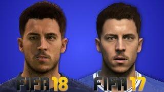 Fifa 18 vs fifa 17 chelsea player faces (hd graphics) hazard, kante, morata