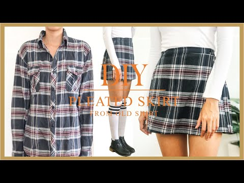 DIY Pleated skirt from old shirt - Rachel Green inspried - Vintage style - YouTube