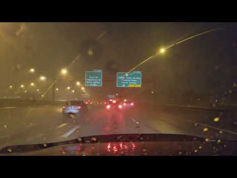 Atlanta ga storm drive through downtown tornado warning lightning hail 3/20/18 I-75N connector