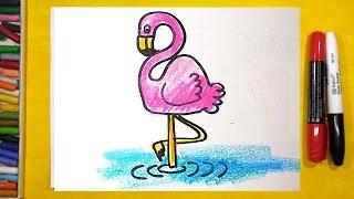 Как нарисовать Фламинго, Урок рисования для детей от 3 лет