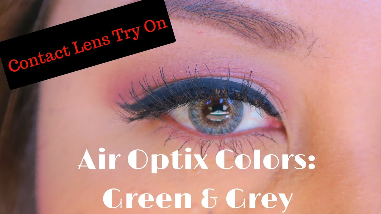 Air Optix Colors Try On Green Amp Gray On Dark Brown Eyes