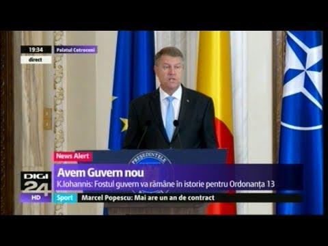 Discursul presedintelui Klaus Iohannis la investirea guvernului Mihai Tudose