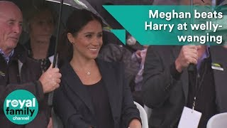 Meghan beats Harry at welly-wanging in Auckland