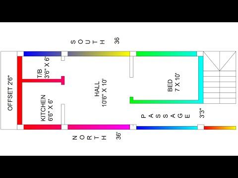 12 X 36 west face house plan map naksha