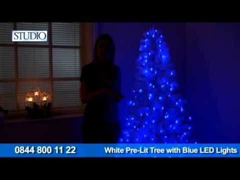 24Studio White Pre Lit Tree With Blue LED Lights - YouTube