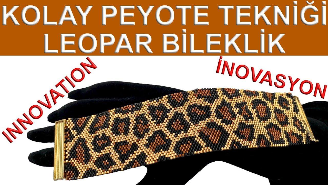 Kolay peyote tekniği leopar desen bileklik 30 boncuk #1