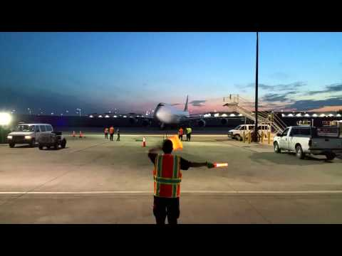 Cargo Ramp Marshalling - Cathay Pacific Cargo Gate Arrival [B-LJA] at O'Hare Airport [05.22.2015]