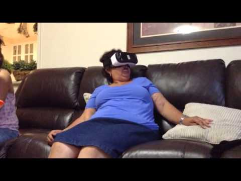 Lady freaking out watching Virtual Reality - Hilarious!!