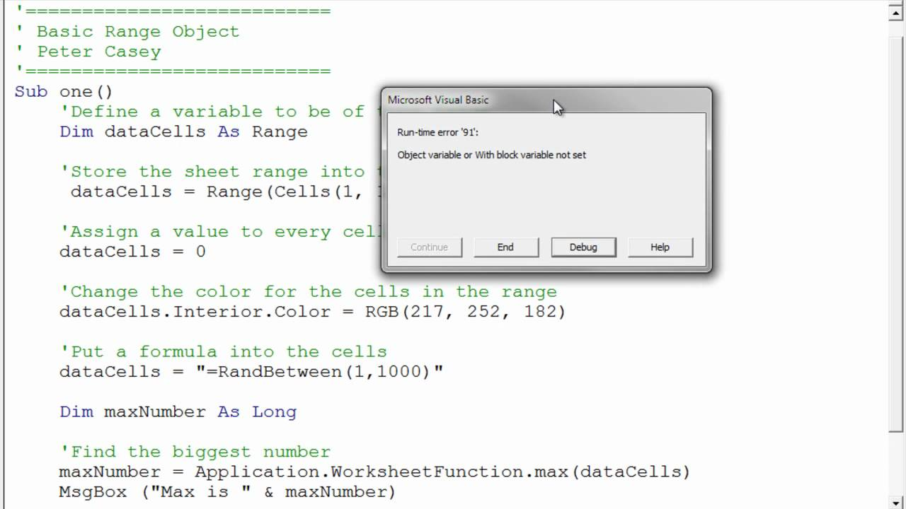 Using a Range Variable in Excel VBA - YouTube