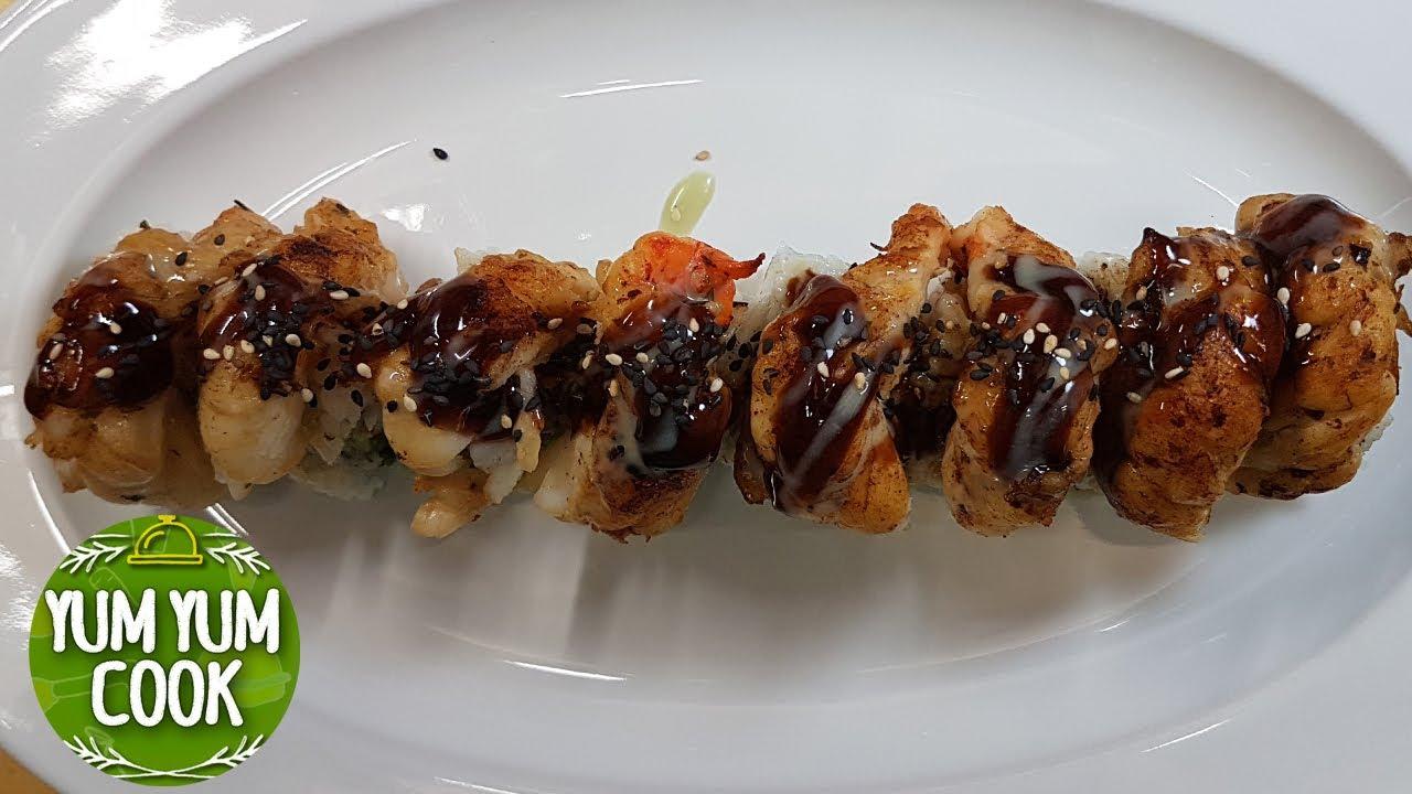 Jumbo Raw Shrimp Sushi Roll Yumyumcook Youtube