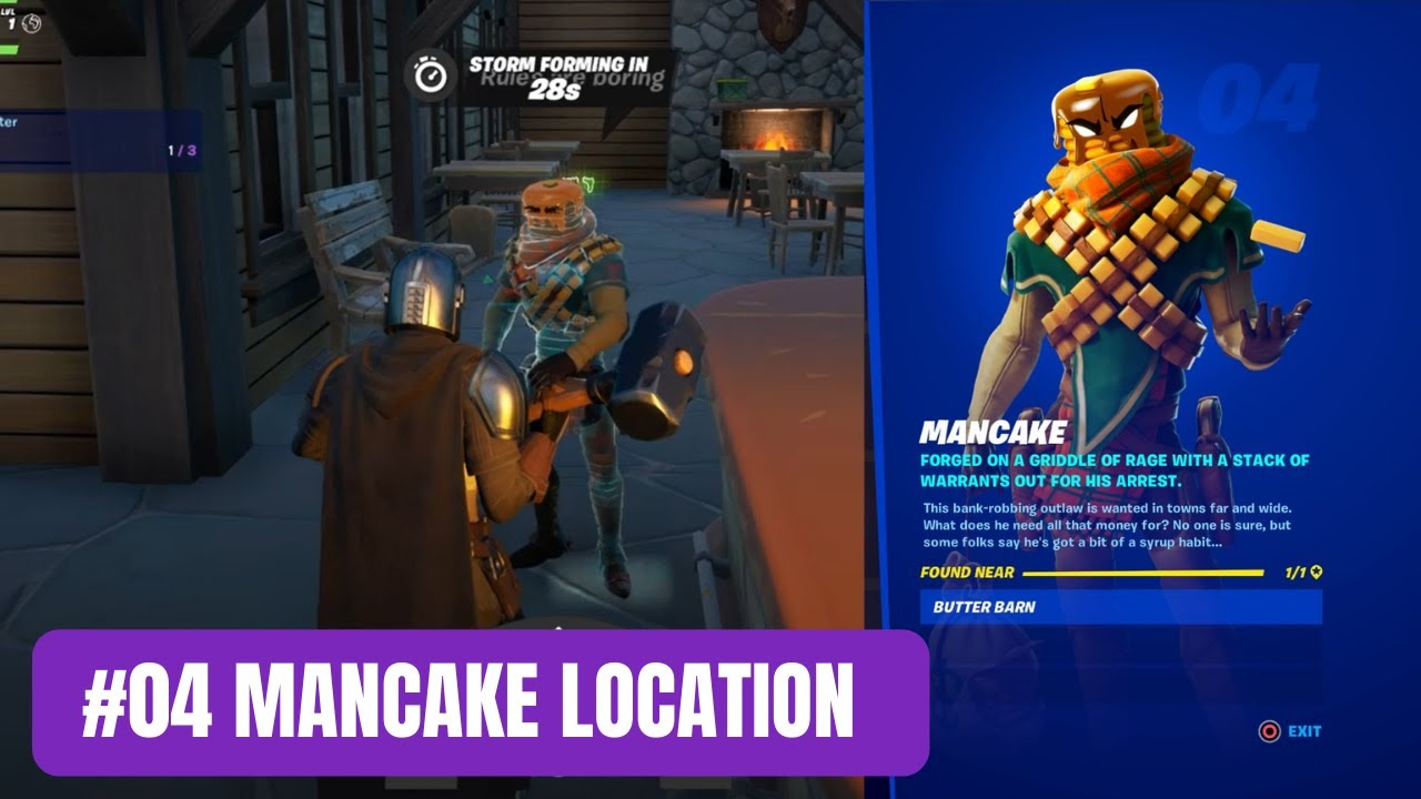 Mancake Character Location 04 Fortnite Character Collection Youtube Pick up the season 5 battle pass and unlock mancake the fighting flapjack, mave the shapeshifter and the ultimate bounty hunter, the mandalorian, with his companion the child. you can see some of the rewards on offer by checking out the season 5 battle pass trailer below. mancake character location 04 fortnite character collection